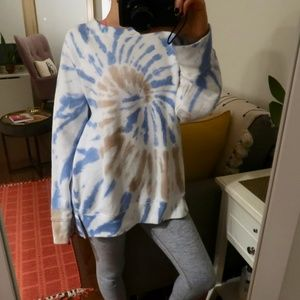 VS Pink Crew Legging Sweater (XS) (White/Tie Dye)